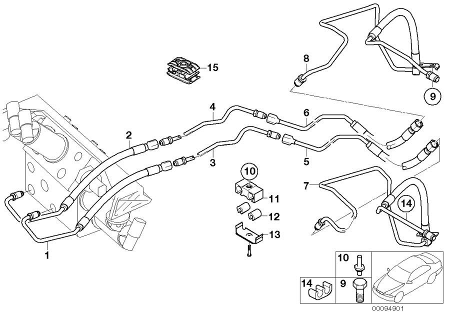 BMW 745i Pressure line, motor. M14X1, 5. Suspension