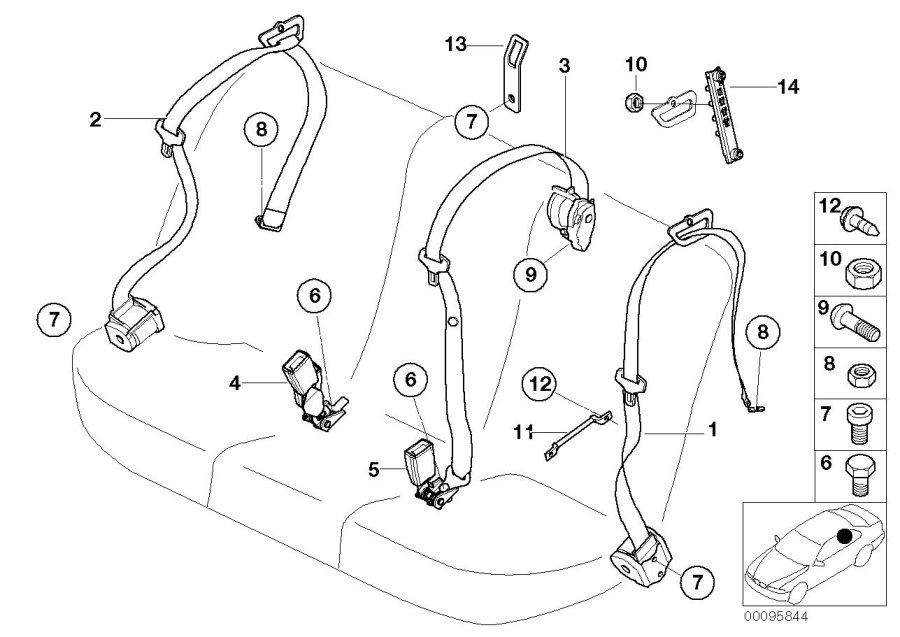 BMW X5 Bracket, child seat fastening. Electrical, Belt