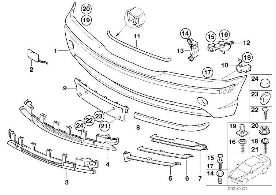 BMW 325i Grid, bumper front. TITAN. Trim, Panel, Body