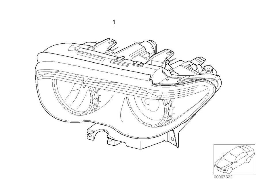 BMW 760i Headlight Xenon rght, white turn indicat. System