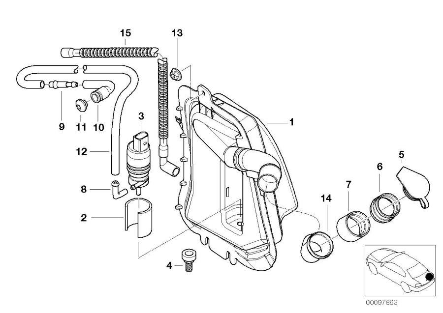 BMW 320i Spray nozzle f rear window cleaning. Lamp, head