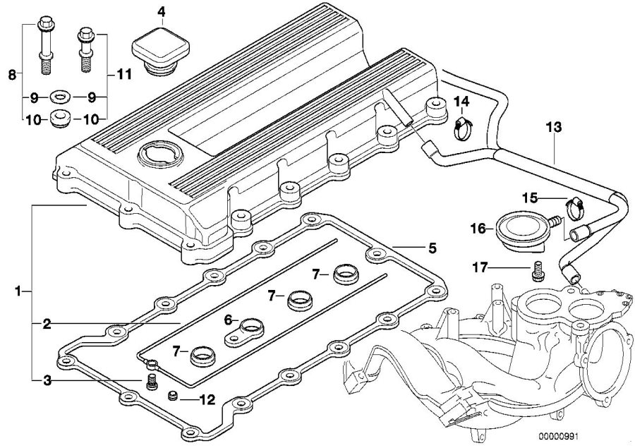 BMW Z3 Sealing cap, oil filler neck. CYLINDER, APPLIES