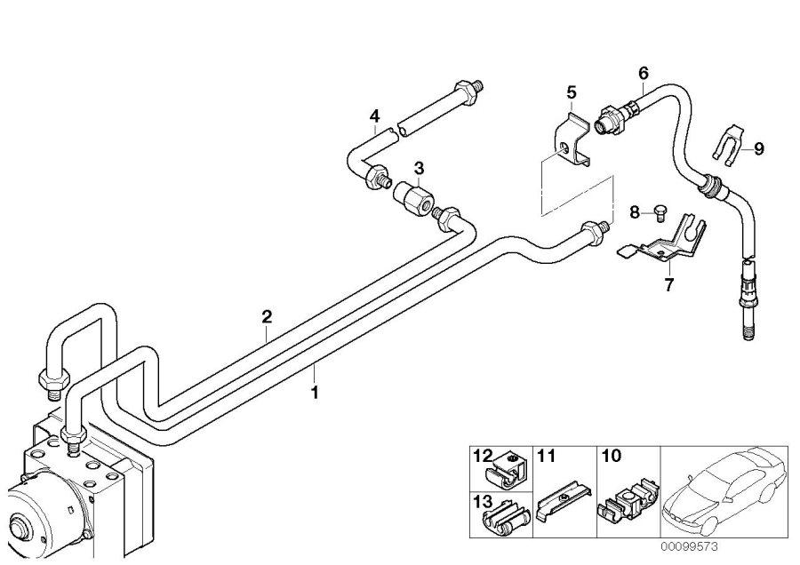 BMW 328i Brake pipe bracket. Rear, suspension, axle