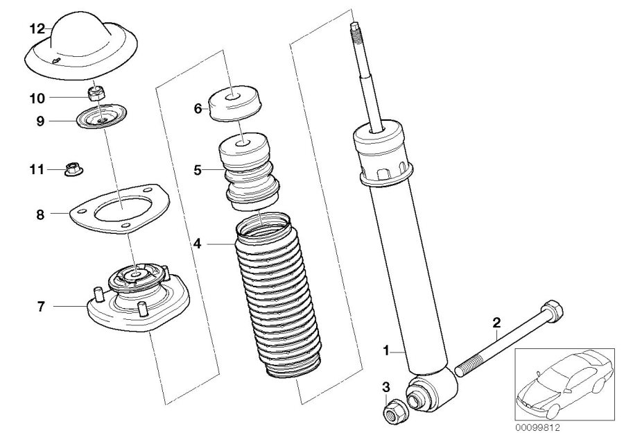 BMW X5 Auxiliary shock absorber, rear. L=90MM. Suspension