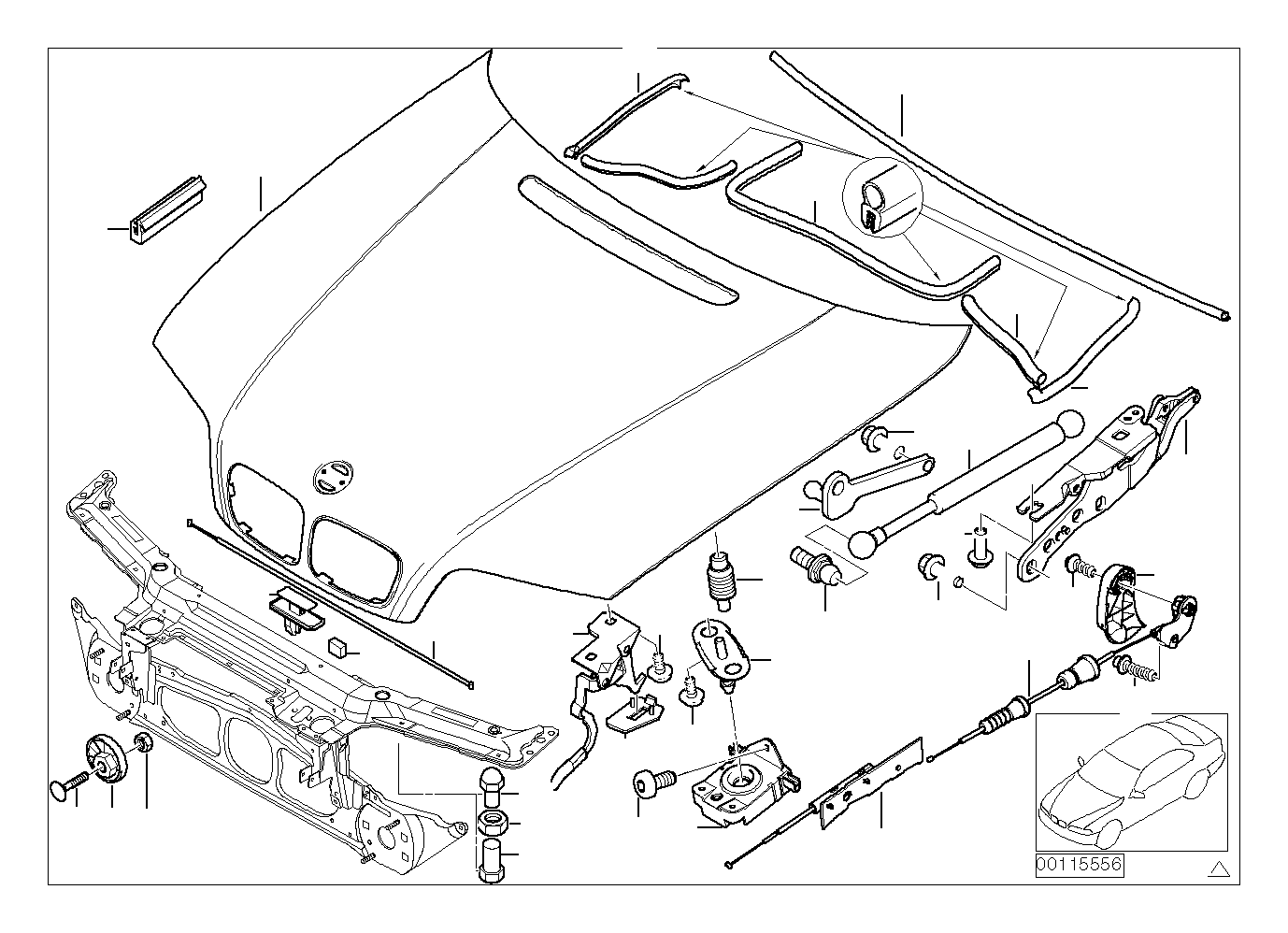 Bmw 325i Hood Trim Mounting Engine Body