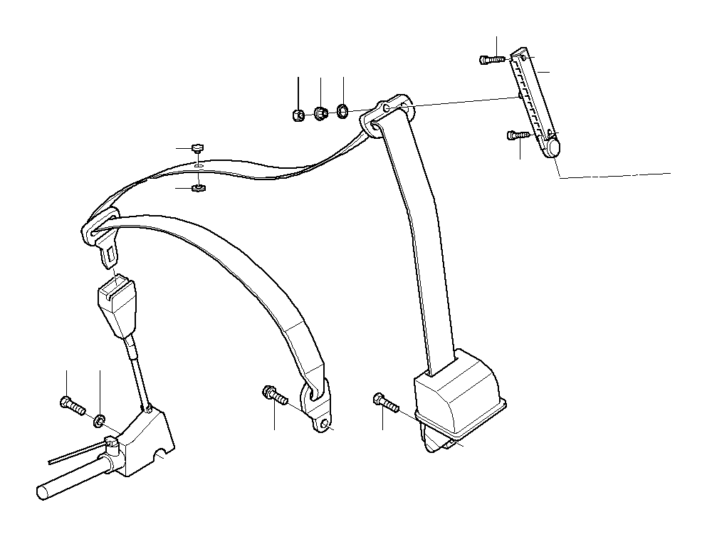 BMW 740i Torx bolt. 7/16X16. Safety, Belt, Electrical