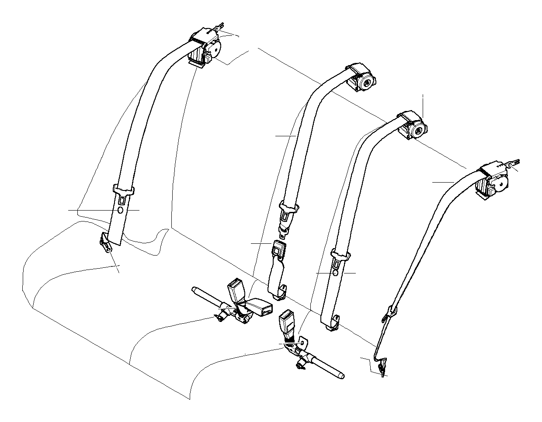 BMW 328i Upper belt rear. Schwarz. Safety, electrical