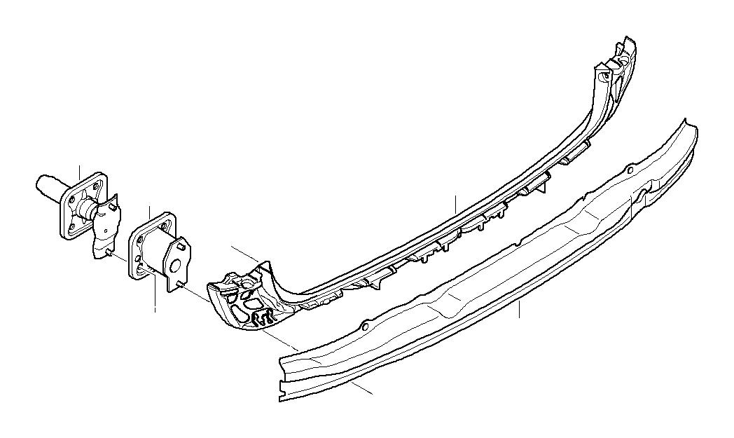 BMW 530i Deformation element, rear left. Trim, Carrier