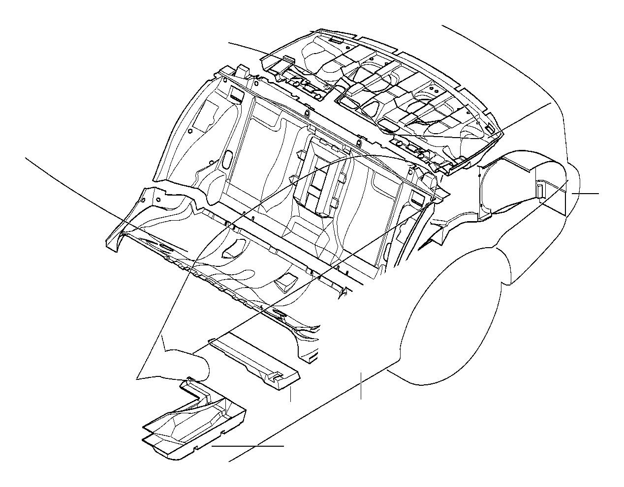 BMW 525i Sound insul. Lugg.compartm.partit., right