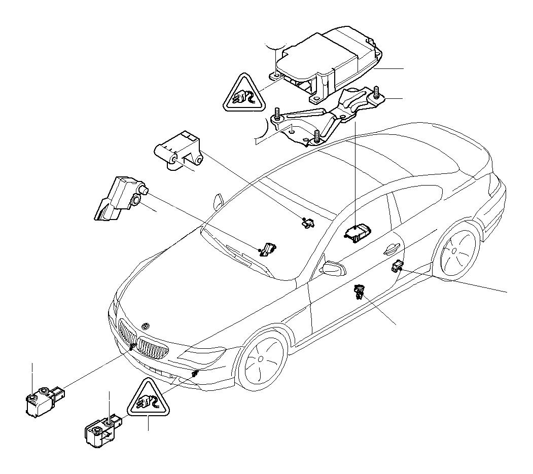 BMW 545i Bracket, control unit Airbag. Electric, System