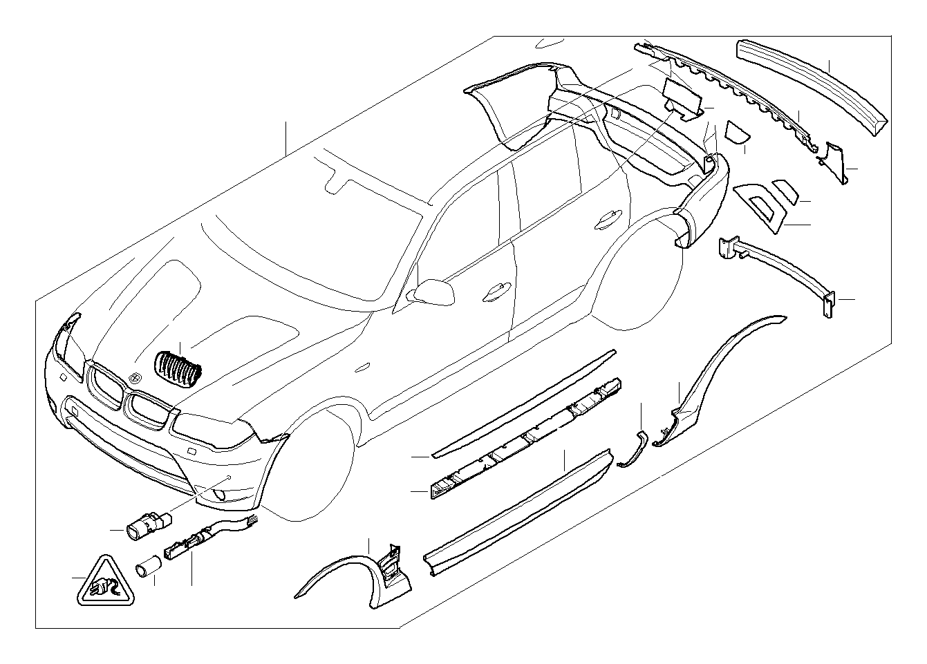 BMW 530i Ultrasonic-sensor. SCHWARZ. Package, Exterior
