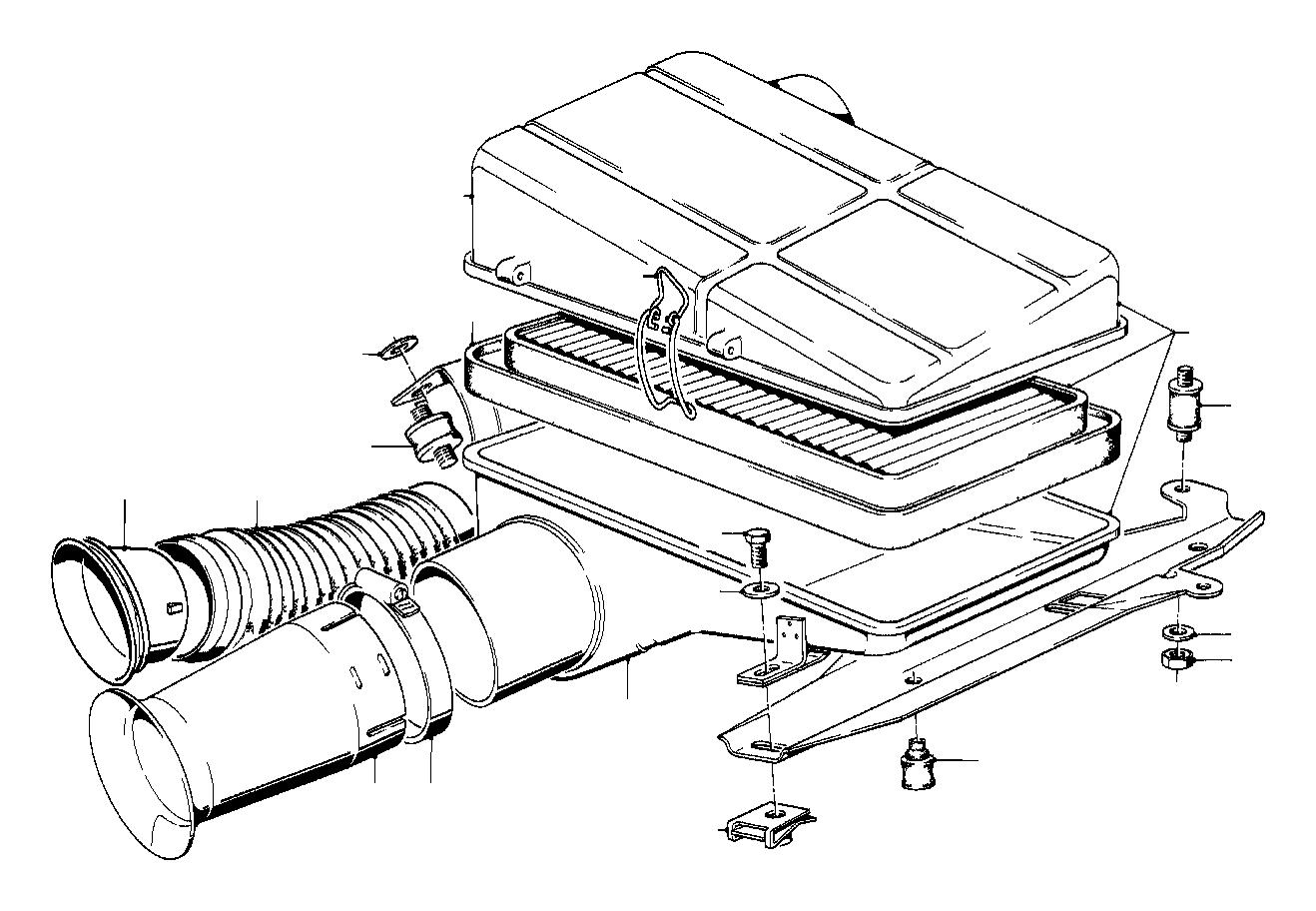 BMW 633CSi Intake tube. Silencer, Fuel, Filter