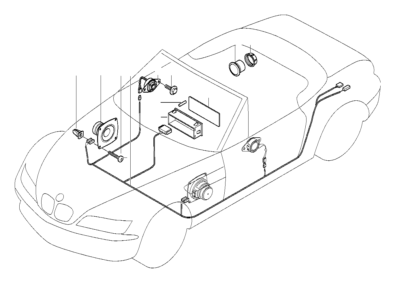 1998 BMW Z3 Audio wiring harness Stereo. System, Single