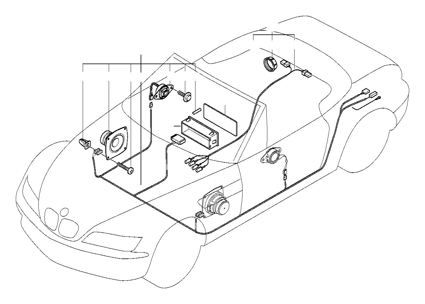 BMW Z3 Audio wiring harness Stereo. System, Single