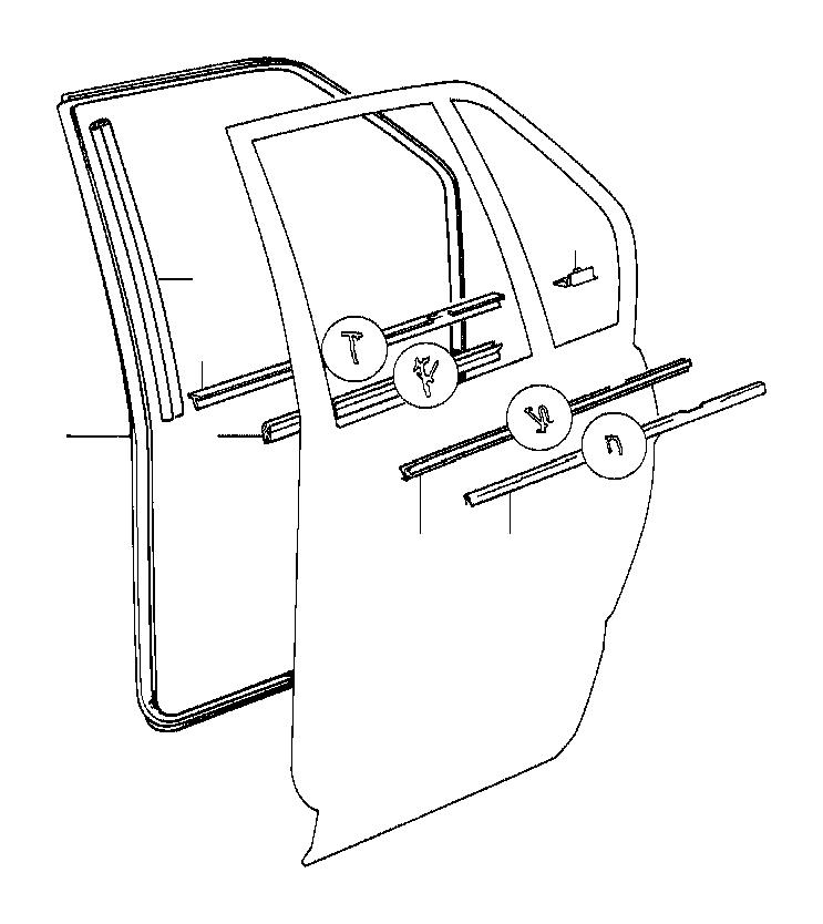 BMW 735i Left rear window guide. Door, body, trim