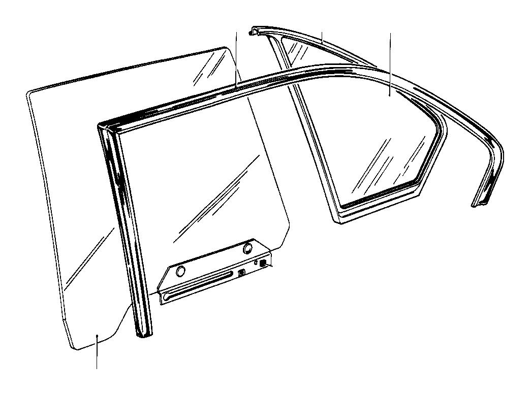 Bmw 533i Door Window Rear Left Glazing Body Trim
