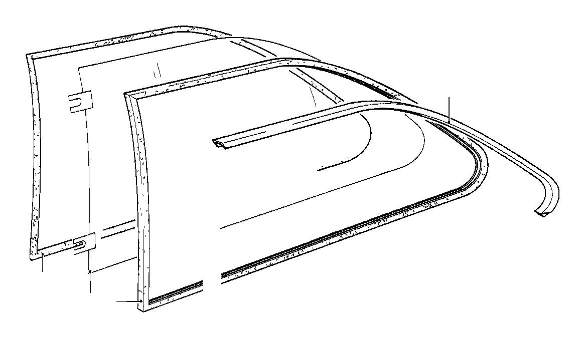 BMW 1602 Vent window clear right. Trim, front, door, body