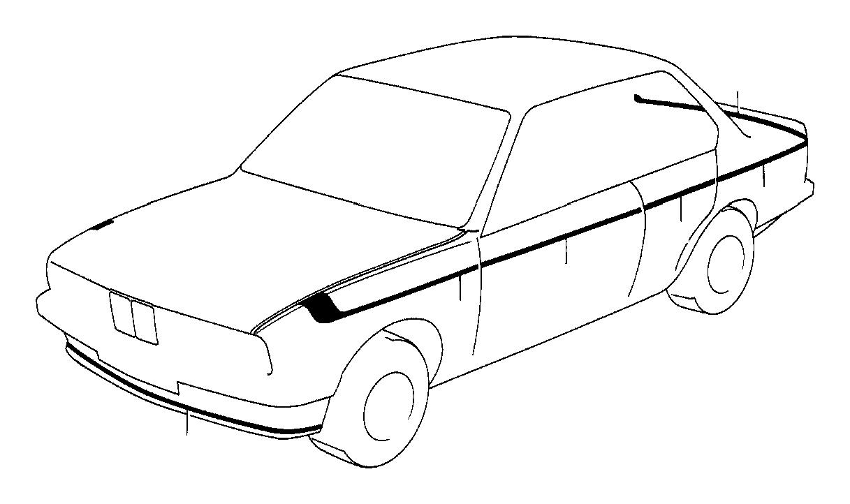 BMW 325e Decorating stripes fender rear left. M technic