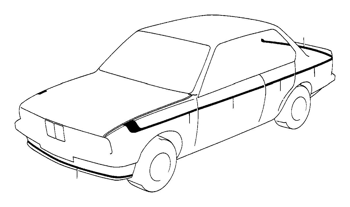 BMW M5 Decorating stripes trunk lid. M technic