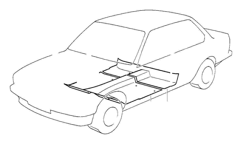 BMW 535i Floor trim cover, front. SCHIEFER. Interior