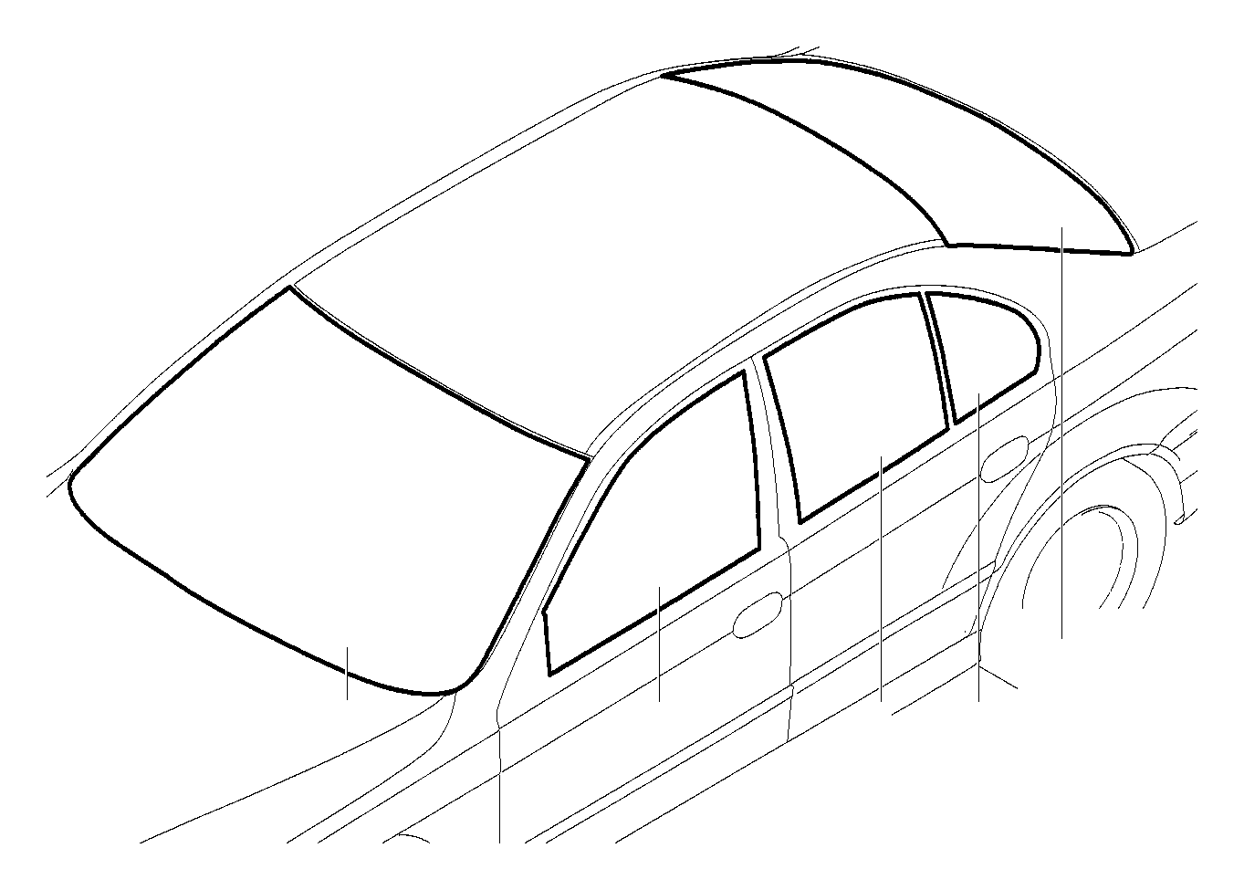 BMW 540i Fixed door window, black, right. Glazing