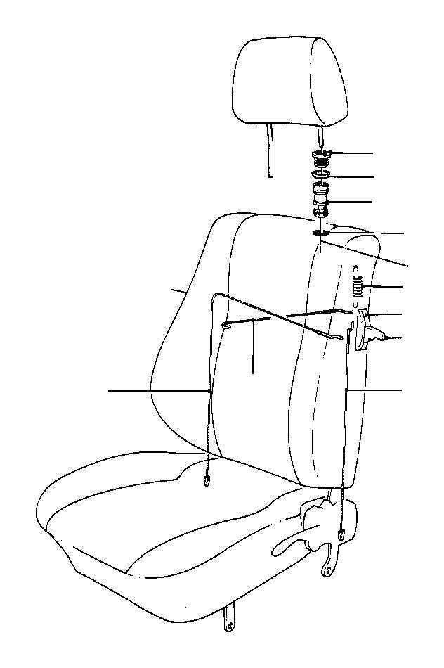 BMW 633CSi Rope. 820mm. Seat, front, unlocking