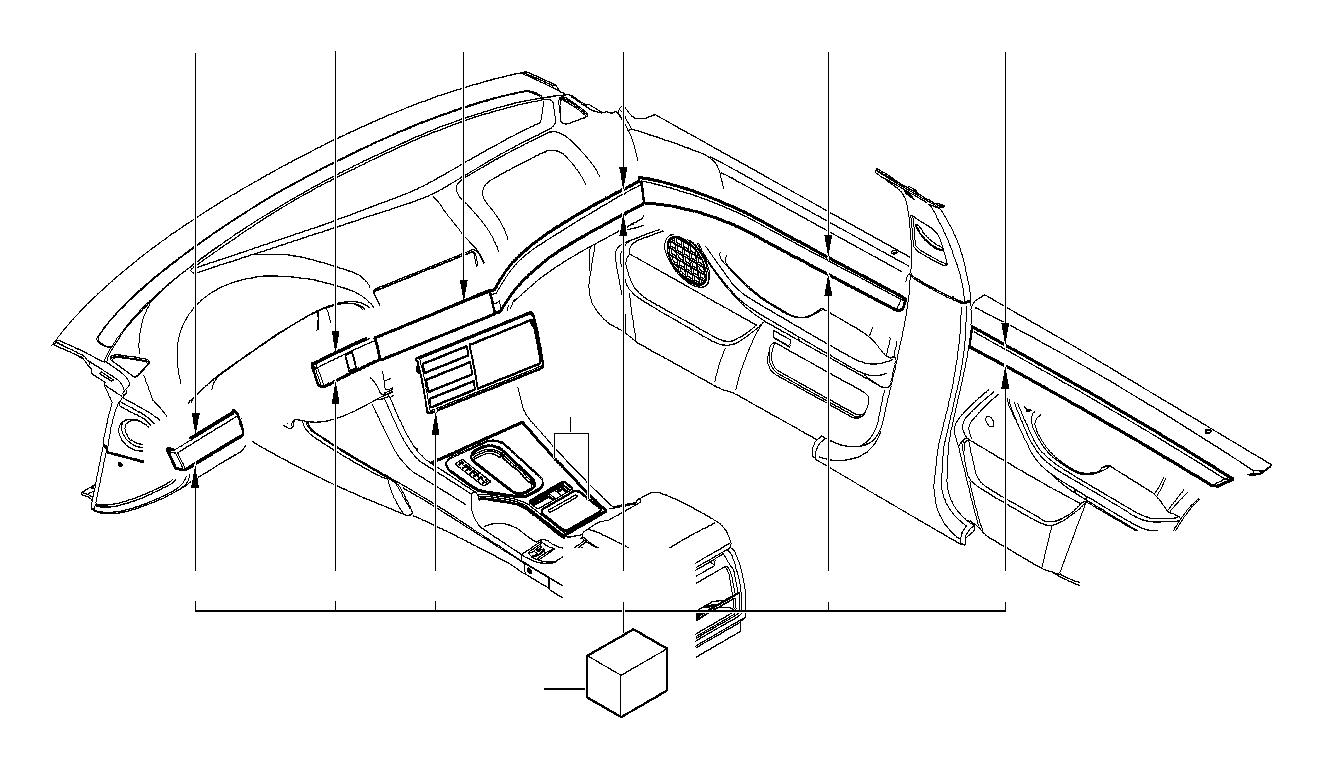 BMW M5 Center console insert, centre. Pappel natur. Inner