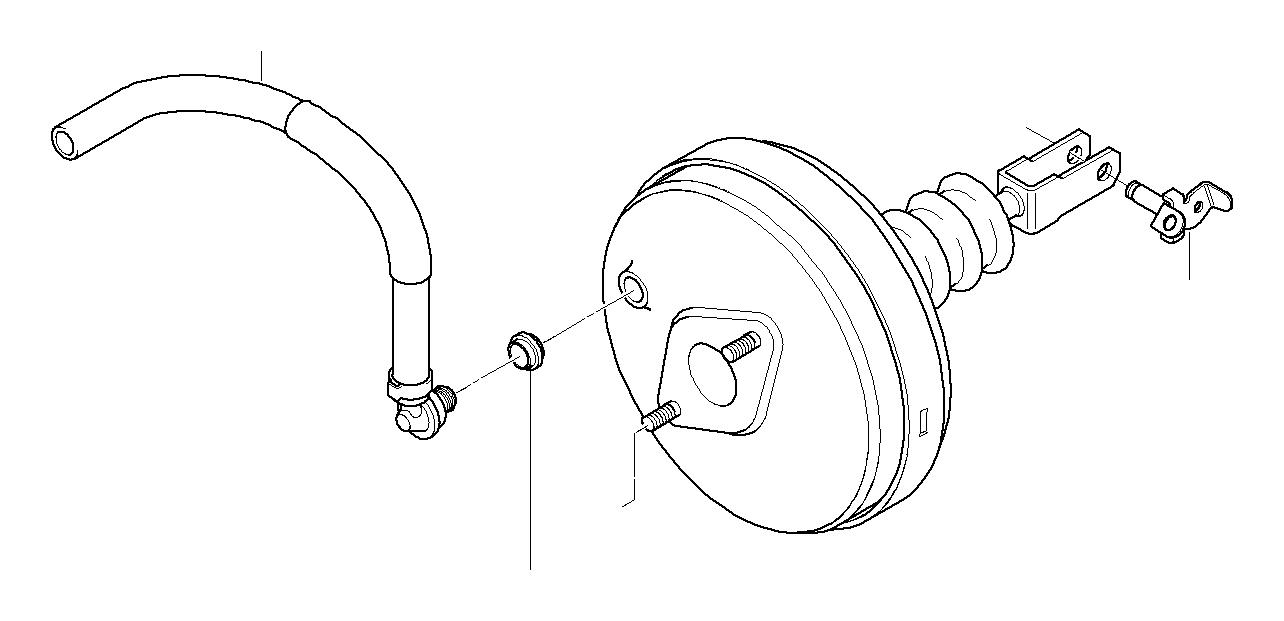 BMW Z3 Vacuum hose with anti-scuffing. Brake, Unit