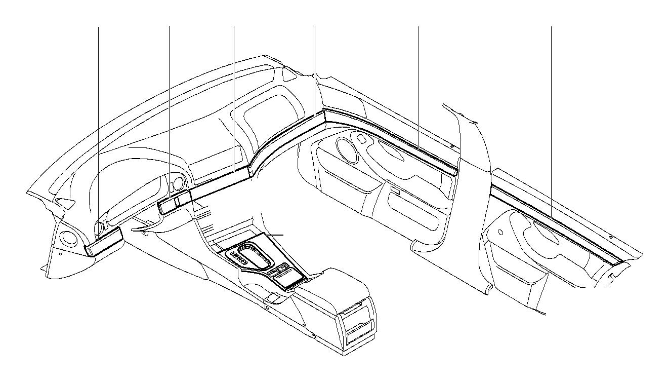 BMW 540i Trim strip, door, front, left. TITAN LINE