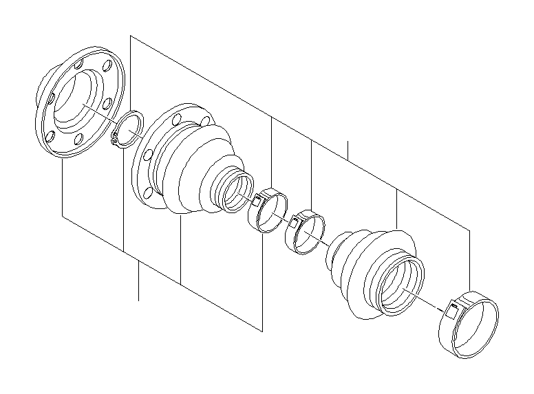 BMW 330i Repair kit bellows, interior. Shaft, Output