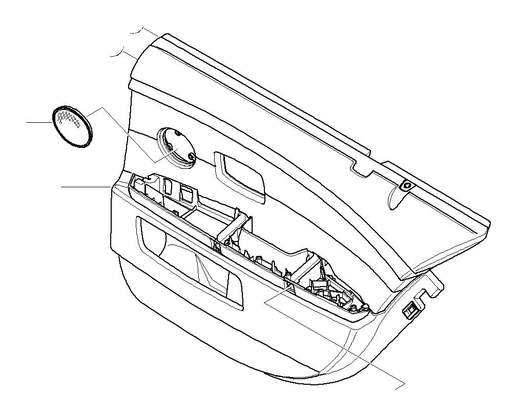 BMW 745i Cover Loudspeaker. FLANELLGRAU. Door, Trim, Rear
