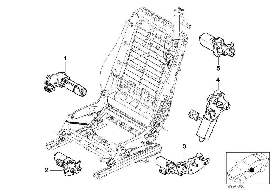 2006 BMW 325Ci Engine, longitudinal seat adjustment. CRH 1