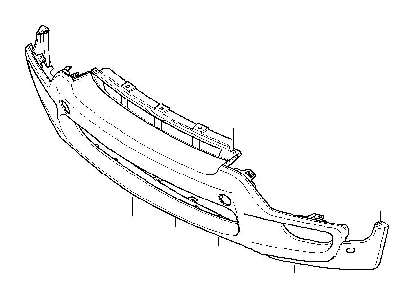 diagram of 2004 bmw front bumper parts