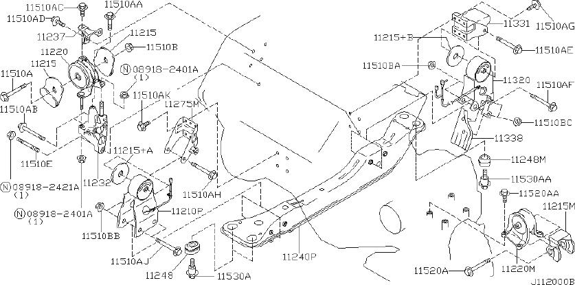 Nissan Maxima Guide Air, Engine Mounting. TRANSMISSION