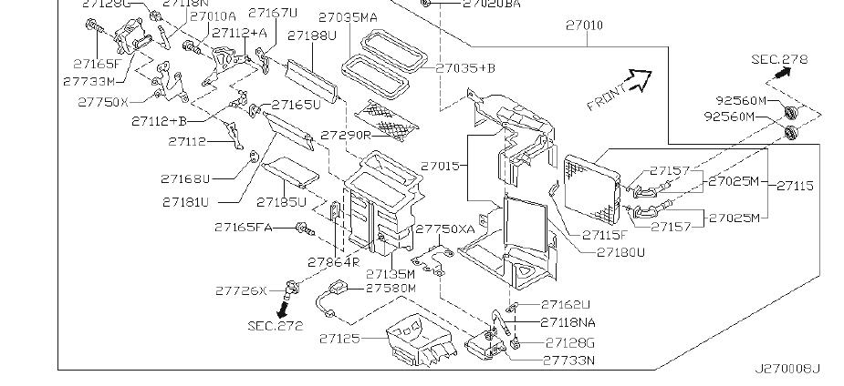 Nissan Maxima Hvac System Wiring Harness (Rear). CON, AIR