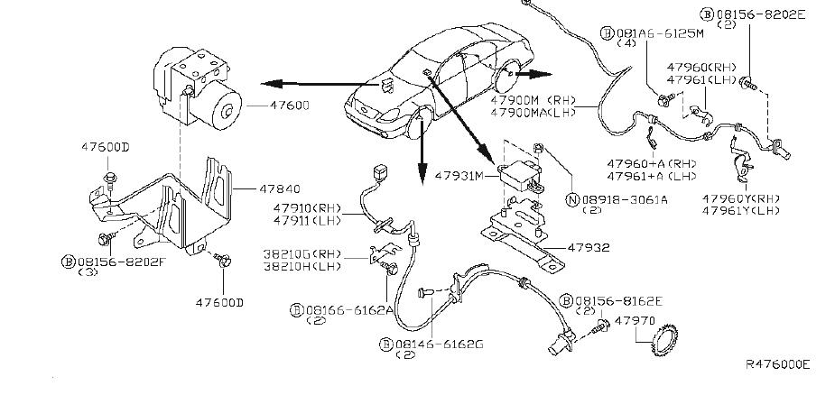 Nissan Maxima Abs Wheel Speed Sensor (Rear). SKID, CONTROL