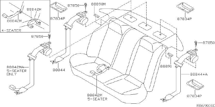 Nissan Maxima Seat Belt Lap And Shoulder Belt (Rear