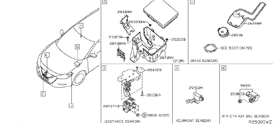 Nissan Maxima Air Bag Impact Sensor (Right). ROOM, ENGINE