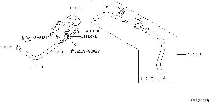 Nissan Titan Vapor Canister Filter. REAR, PIPING, VACUUM