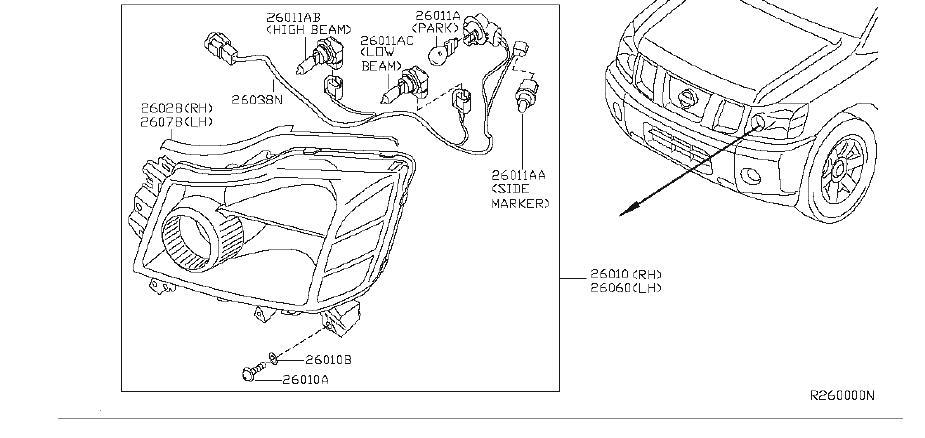 Nissan Titan Headlight. Lamp Head. (Right). System
