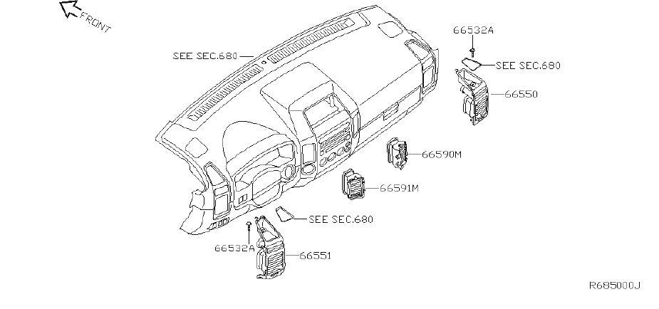 Nissan Titan Dashboard Air Vent. PRO, FOSGATE, OFFR
