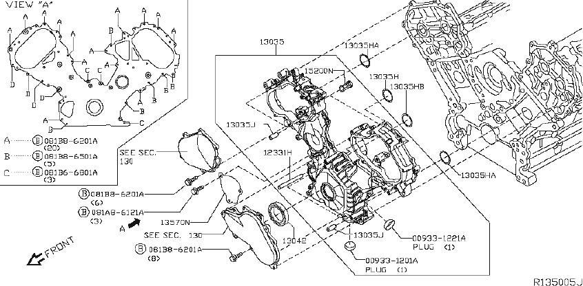 Nissan Titan Engine Crankshaft Seal (Front). NDK, NOK