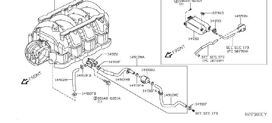 Nissan Titan Evaporative Emissions System Lines. CANISTER