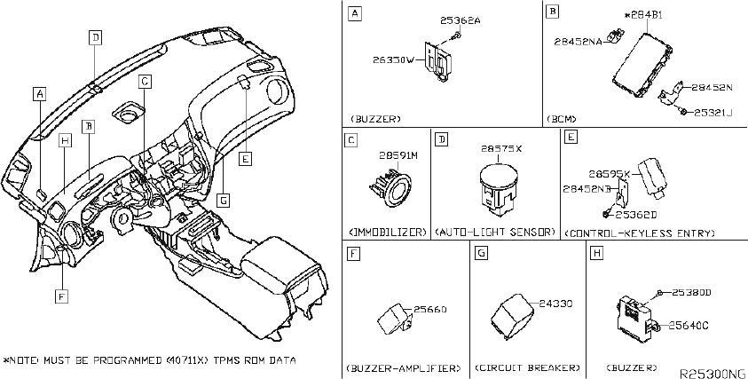 Nissan Titan Parking Aid Sensor. FRONT, SONAR, BODY