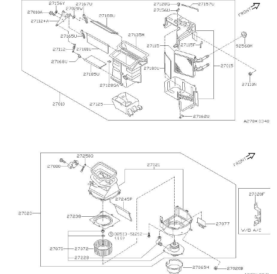 Nissan Sentra Hvac blend door lever. Unit, heater, blower