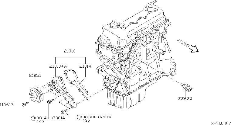 Nissan Sentra Engine Water Pump Pulley Bolt. BODY, DOORS