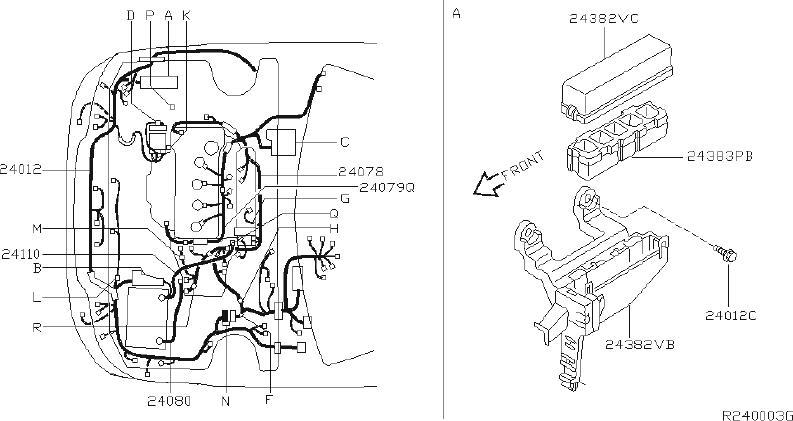 Nissan Sentra Bracket Harness Clip. FITTING, ENGINE, BODY
