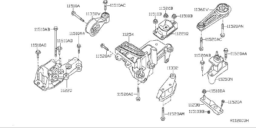 Nissan Sentra Engine Mount Bracket (Right, Rear