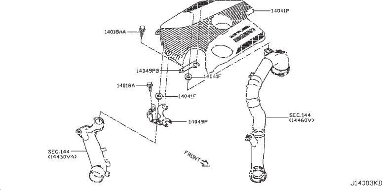 Nissan Sentra Engine Cover Bracket. INTAKE, EXHAUST