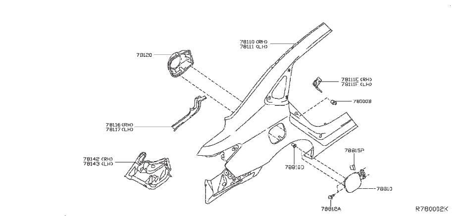 Nissan Sentra Fuel Filler Housing. FITTING, FENDER, REAR